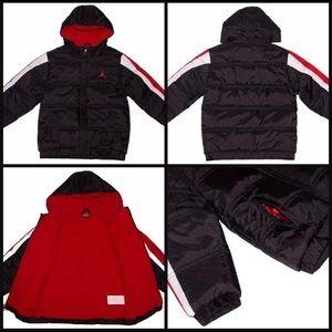 JORDAN PUFFER BOY BLACK & RED WINTER COAT SIZE M